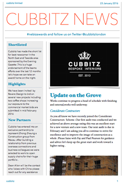 Cubbits News Letter January